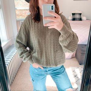 VINTAGE | Olive Green Cable Knit Sweater Sz L`